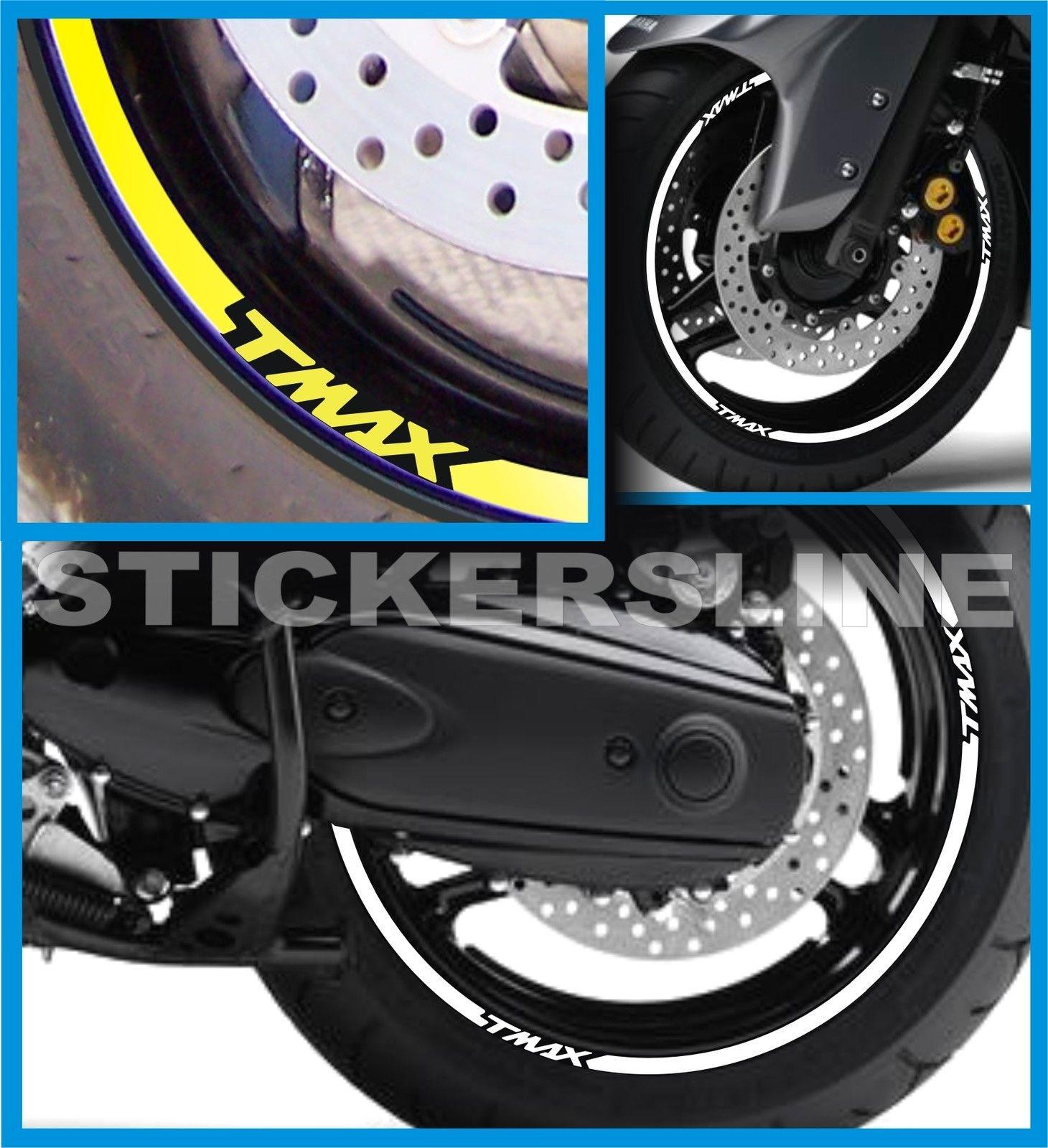 Adesivi cerchi ruote moto scooter Yamaha TMAX 530 T MAX stickers decals Moto: accessoires Autocollants, emblèmes, déco