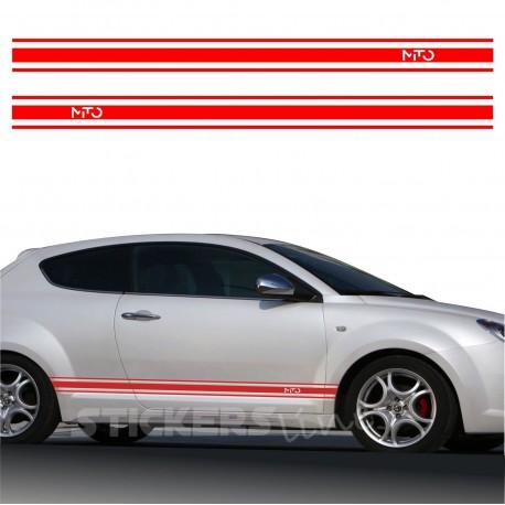 Adesivi Alfa Romeo MITO fasce adesive alfaromeo strisce adesive SPATOLA OMAGGIO