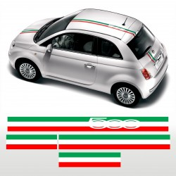 Fascia adesiva TRICOLORE per FIAT 500 striscia adesiva italia LOGO 500 adesivi