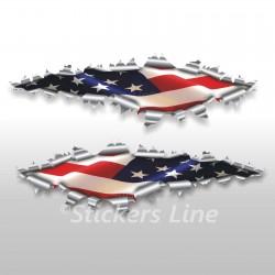 Adesivi bandiera AMERICANA American flag stickers cm 70