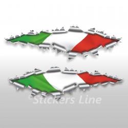Adesivi bandiera ITALIANA strappo stickers cm 40