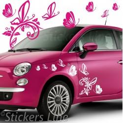 Kit adesivi FARFALLE (mod4) 42 pezzi SMART FIAT 500 fiori auto moto car stickers