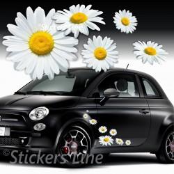 Kit adesivi MARGHERITE (mod.3) FIORI 28 pezzi SMART FIAT 500 AUTO MOTO CASA
