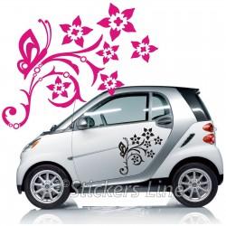Kit adesivi FIORI (mod.6) farfalle SMART FIAT 500 fiori auto moto car stickers