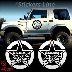 2 Adesivi STELLA 40 cm fuoristrada SUZUKI 4X4 Santana Samurai stickers off road