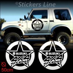2 Adesivi STELLA 50 cm fuoristrada SUZUKI 4X4 Santana Samurai stickers off road