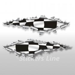 Adesivi SCACCHIERA strappo lamiera stickers cm 40 scacchi bandiera a scacchi