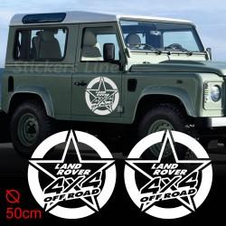 2 Adesivi STELLA LAND ROVER 50cm defender discovery freelander fuoristrada 4X4