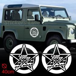 2 Adesivi STELLA LAND ROVER 40cm defender discovery freelander fuoristrada 4X4
