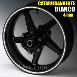 Strisce adesive cerchi moto BIANCO CATARIFRANGENTE™ 4mm rinfrangenti riflettenti