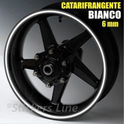 Strisce adesive cerchi moto BIANCO CATARIFRANGENTE™ 6mm rinfrangenti riflettenti
