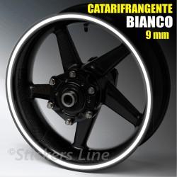 Strisce adesive cerchi moto BIANCO CATARIFRANGENTE™ 9mm rinfrangenti riflettenti