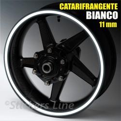 Strisce adesive cerchi moto BIANCO CATARIFRANGENTE 11mm rinfrangenti riflettenti