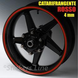 Strisce adesive cerchi moto ROSSO CATARIFRANGENTE™ 4mm rinfrangenti riflettenti