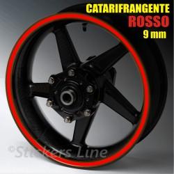 Strisce adesive cerchi moto ROSSO CATARIFRANGENTE™ 9mm rinfrangenti riflettenti