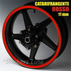 Strisce adesive cerchi moto ROSSO CATARIFRANGENTE™ 11mm rinfrangenti riflettenti