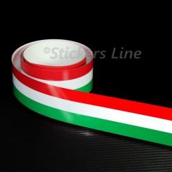 Fascia adesiva TRICOLORE cm 120 X 2,5 striscia adesiva italia bandiera italiana