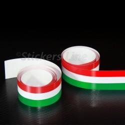 2 PEZZI Fascia adesiva TRICOLORE 120 X 0,5 striscia adesiva italia bandiera italiana