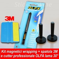 Spatola 3M + Cutter OLFA lama 30° + Coppia di calamite per CAR WRAPPING adesivi