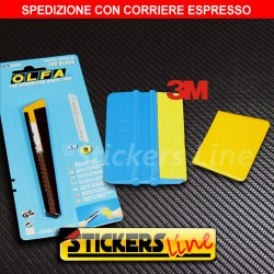 Kit Cutter OLFA - Spatola 3M con feltro - Spatolina di precisione CAR WRAPPING