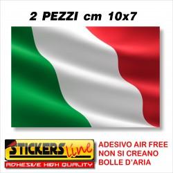 2 PEZZI Adesivo BANDIERA ITALIANA cm 10 x 7 adesivi bandiera italiana tricolore ITALIA