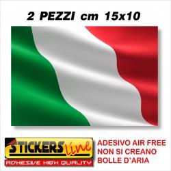 2 PEZZI Adesivo BANDIERA ITALIANA cm 15 x 10 adesivi bandiera italiana tricolore ITALIA