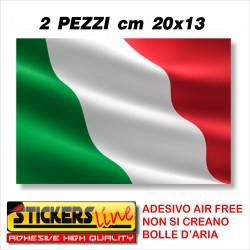 2 PEZZI Adesivo BANDIERA ITALIANA cm 20 x 13 adesivi bandiera italiana tricolore ITALIA
