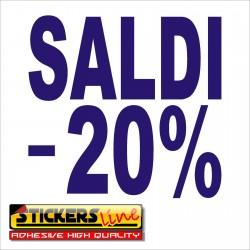 Adesivo SALDI vetrina negozio vetrine negozi adesivi saldi scritte sconti - 20%