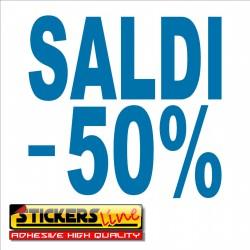 Adesivo SALDI vetrina negozio vetrine negozi adesivi saldi scritte sconti - 50%