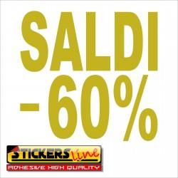 Adesivo SALDI vetrina negozio vetrine negozi adesivi saldi scritte sconti - 60%