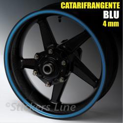 Strisce adesive cerchi moto BLU CATARIFRANGENTE™ 4mm rinfrangenti riflettenti