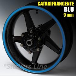 Strisce adesive cerchi moto BLU CATARIFRANGENTE™ 9mm rinfrangenti riflettenti