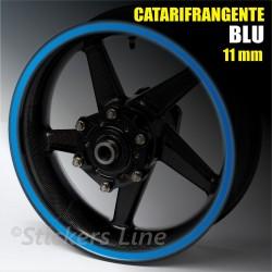 Strisce adesive cerchi moto BLU CATARIFRANGENTE™ 11mm rinfrangenti riflettenti