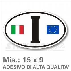Adesivo ITALIA di Identificazione Nazione Residenza per Auto + logo europa