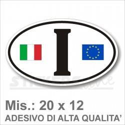 Adesivo ITALIA di Identificazione Nazione Residenza camper bandiera europea