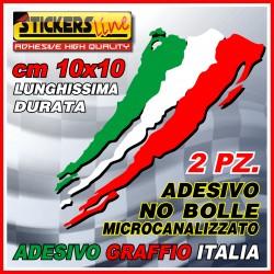 2 PEZZI Adesivi TRICOLORE cm 10 X 10 adesivo graffio italia bandiera italiana striscia