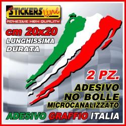 2 PEZZI Adesivi TRICOLORE cm 20 X 20 adesivo graffio italia bandiera italiana striscia