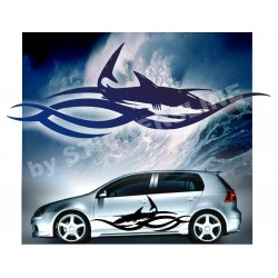 Adesivi fiancate auto tuning stickers decalcomanie TRIBAL SHARK adesivi barca