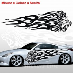 2 Adesivi leoni fiammanti LION FLAME auto tuning moto camion stickers lion