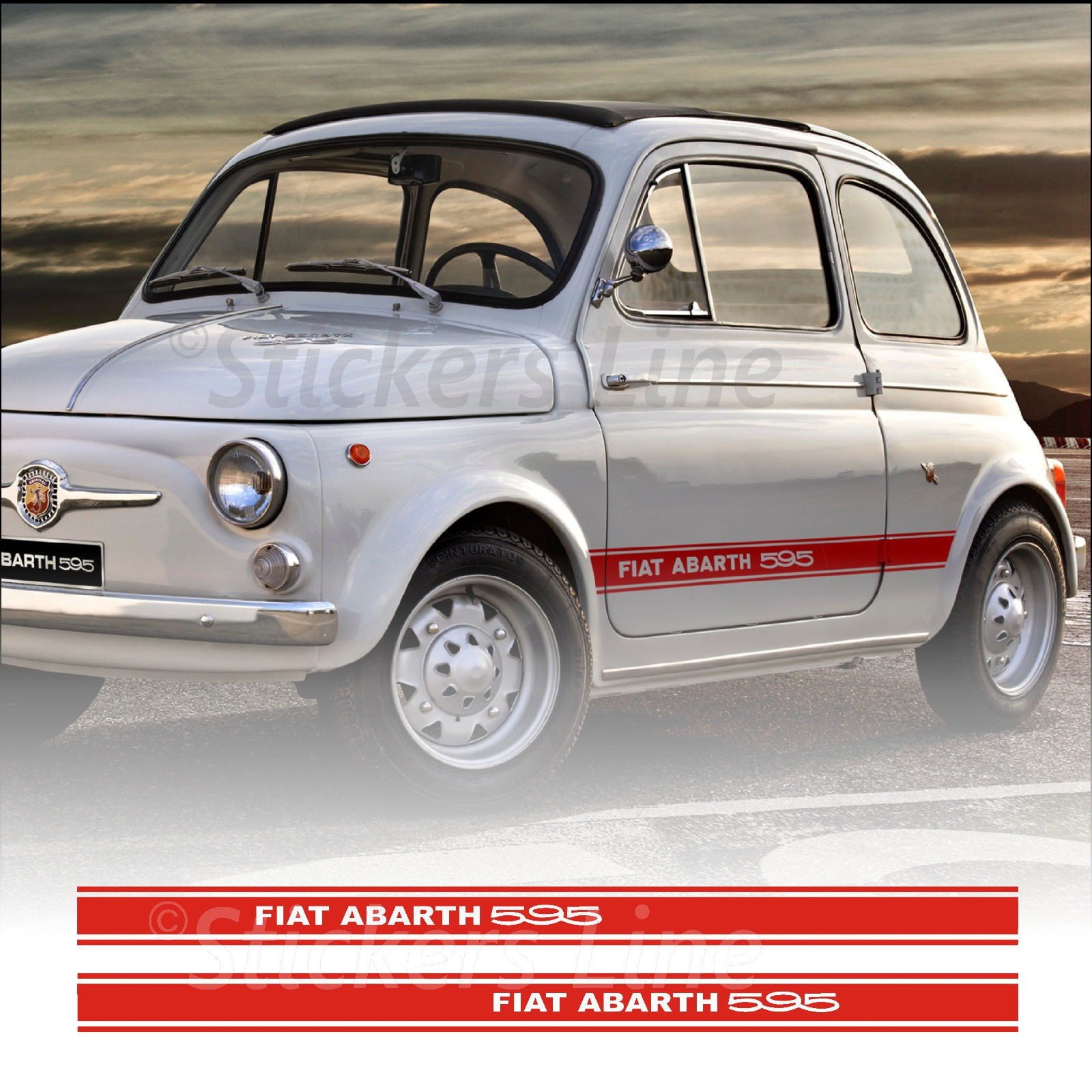Fasce Adesive Fiat 500 595 Abarth D Epoca Strisce Continue Fiancate