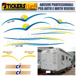 Kit completo 13 adesivi per camper CI caravan international RIVIERA 135 LIVING