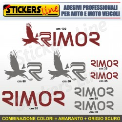 Kit completo 8 adesivi camper RIMOR loghi stickers caravan roulotte decal M.1