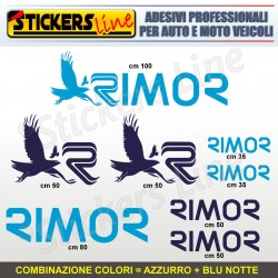 Kit completo 8 adesivi camper RIMOR loghi stickers caravan roulotte decal M.3