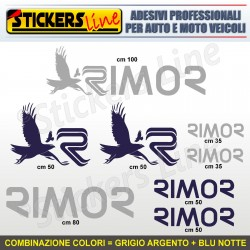 Kit completo 8 adesivi camper RIMOR loghi stickers caravan roulotte decal M.5