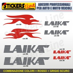 Kit completo 8 adesivi camper LAIKA loghi stickers caravan roulotte decal M.1