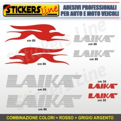 Kit completo 8 adesivi camper LAIKA loghi stickers caravan roulotte decal M.5