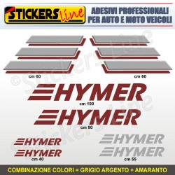 Kit completo 8 adesivi camper HYMER loghi stickers caravan roulotte decal M.1