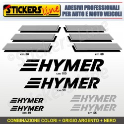 Kit completo 8 adesivi camper HYMER loghi stickers caravan roulotte decal M.2