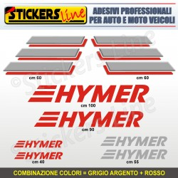 Kit completo 8 adesivi camper HYMER loghi stickers caravan roulotte decal M.4
