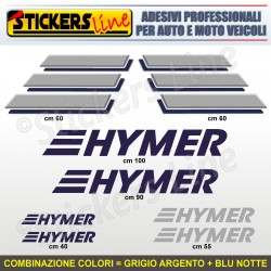 Kit completo 8 adesivi camper HYMER loghi stickers caravan roulotte decal M.5
